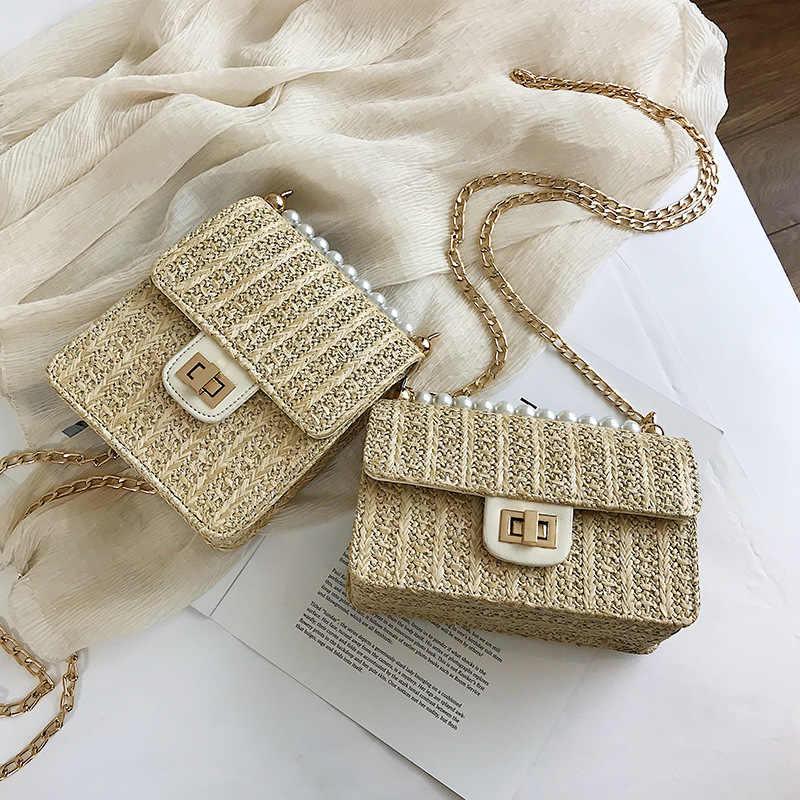 Novo verão praia palha saco crossbody sacos para as mulheres 2019 pérola tecido rattan bolsa de ombro das senhoras bolsa embreagem bolso mujer