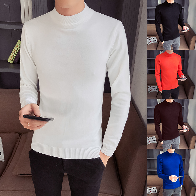 YASUGUOJI New 2019 Autumn Fashion Turtle Neck Mens Sweater Men Slim Fit Sweater Basal Wear Knitted Pullover Mens Sweaters