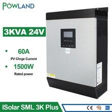 Слежением за максимальной точкой мощности вне сети Гибридный солнечный инвертор 2400W 3KVA инвертор с чистым синусом встроенный 60A DC 24V до 220V с блок управления установкой на солнечной батарее Зарядное устройство