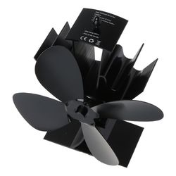 Home Silent Stove Fan with 4 Blades Heat Powered Electrical Fan for Fireplace 63HF