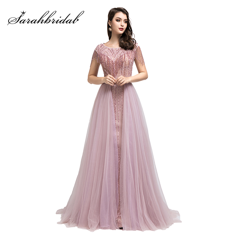 New Arrival Real Pictures Celebrity-Inspired Dresses 2019 Luxury Beading Tulle Evening Party Gown Shining Dress Pre-Sale L5490