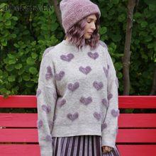 Oversized Sweater Knit Pullover Women Jumper Fluffy Heart-Pattern Long-Sleeve Winter