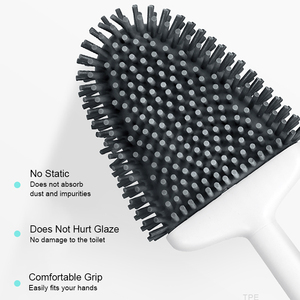 Image 2 - ONEUP Silicone Toilet Brush Holder For Toilet WC Bathroom Accessories Wall Mount Cleaning Brush TPR Rubber Head Household Items