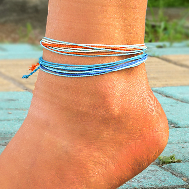 Bohemian Thread Adjustable Bracelet Beach Foot Anklet Handmade String Cord Woven Leg Bracelets For Women Men Summer Jewelry