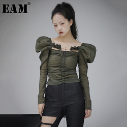 [EAM] Women Army Green Three-dimensional Blouse New Square Collar Puff Sleeve Loose Fit Shirt Fashion Spring Autumn 2020 1S115