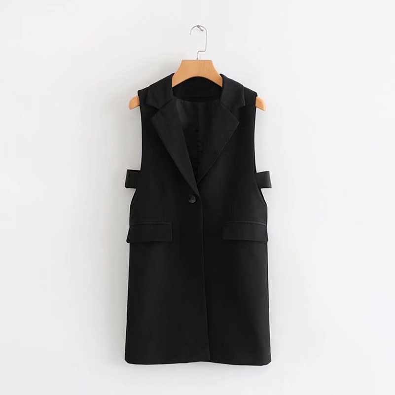 Cthink Spring 2020 Hollow Out Side Slim Black Long Suit Vest Women Good Quality Pockets One Button Sleeveless Women's Vests Coat