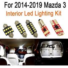 8Pcs אביזרי רכב פנים אורות ערכת שדרוג עבור 2014 2015 2016 2017 2018 2019 מאזדה 3 led פנים כיפה תא מטען אורות