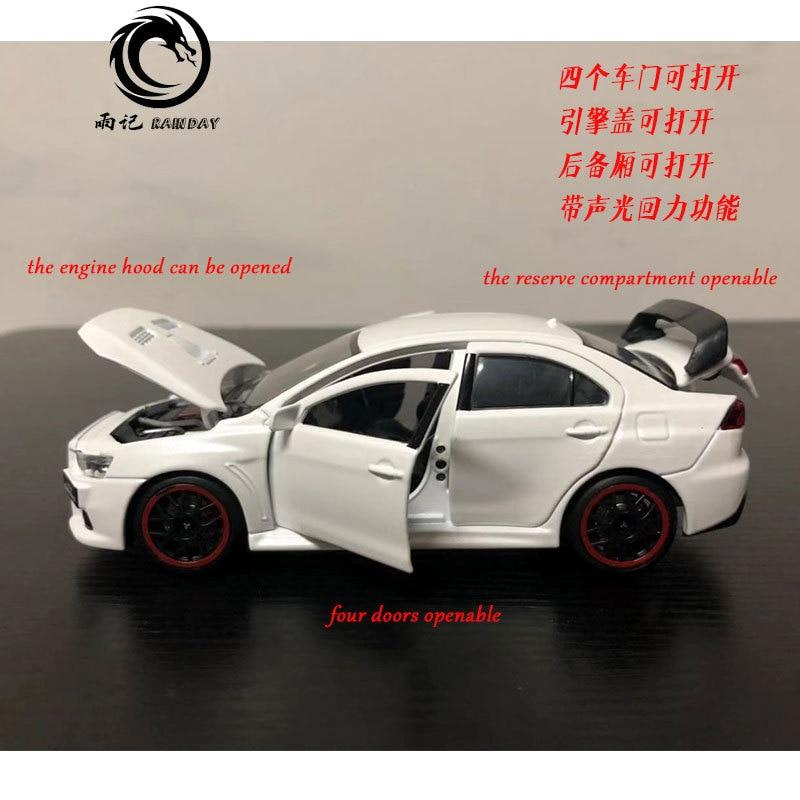 JK 1/32 Scale JAPAN Mitsubishi Lancer Evolution X Sound&Light Diecast Metal Pull Back Car Model Toy For Gift,Children