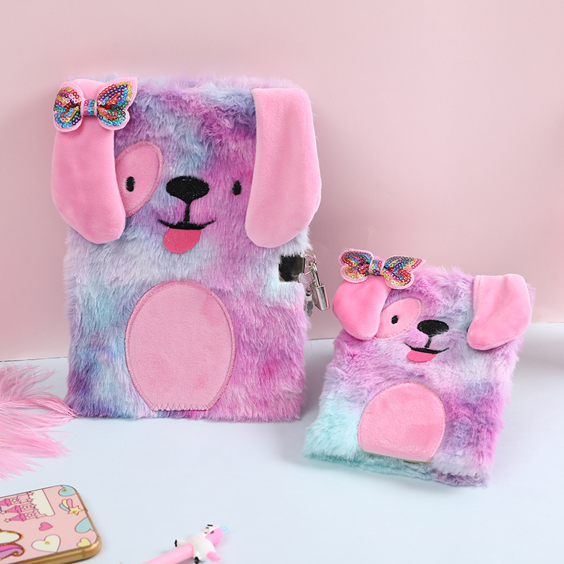 A5A6 Rainbow Fur Lockable Notebook For School Mini Book Kawaii Stationery Portable Notepad Girls Bow Diaries Book