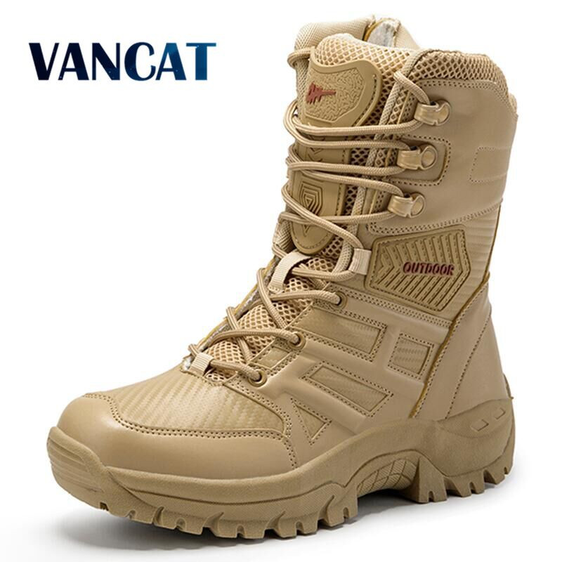 Military Tactical Mens Boots Special Force Leather Waterproof Desert Combat Ankle Boot Army Work Men's Shoes Plus Size 39-47 image