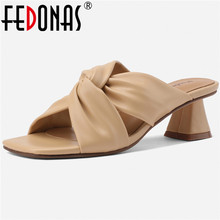 FEDONAS Pleated Soft Leather Women Sandals For Ladies Cool New Arrival Slippers