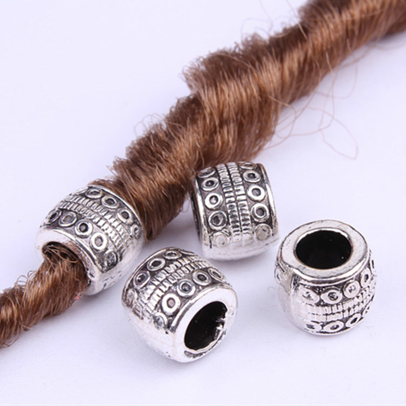 5pcs-20pcs Retro Silver Metal Hair Braid Dread Dreadlock Beard Beads Rings Tube Appro 6mm Inner Hole Jewelry Size 11*9mm