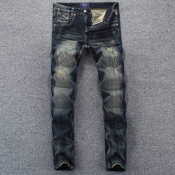 Italian Style Fashion Men Jeans Retro Dark Blue Slim Fit Ripped Jeans Men High Quality Denim Pants Vintage Designer Jeans Homme 2017 new designer men jeans dsel brand jeans men high quality dark color retro ripped jeans for men distressed jeans denim pants
