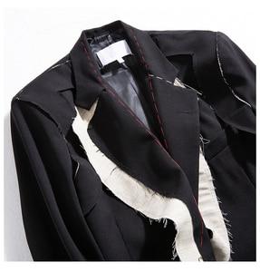 Image 5 - [EAM]  Women Black Contrast Color Burr Split Blazer New Lapel Long Sleeve Loose Fit  Jacket Fashion Spring Autumn 2020 1N048