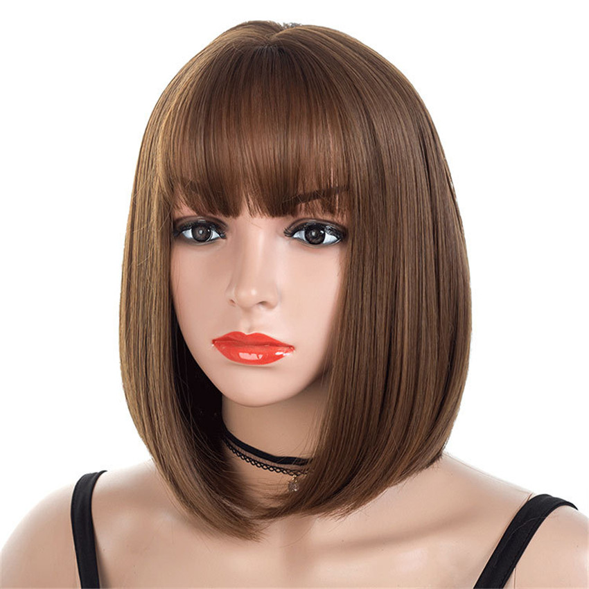Synthetic Hair Wig Women Bob Black/brown Wigs With Full Bangs 14inch Straight Lady Hair Short High Temperature Fiber