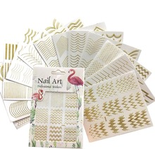 1 Sheet Flamingo Series Nail Art Decal Dot Line Strip Sticker DIY Metallic-Wave Ultra-thin 3D [DP301-312]