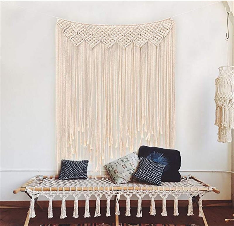 Bohemia Handmade Tapestry Boho Rustic Wedding Macrame Curtain DIY Wall Hanging Backdrop Cotton Vintage Party Home Decor Gifts