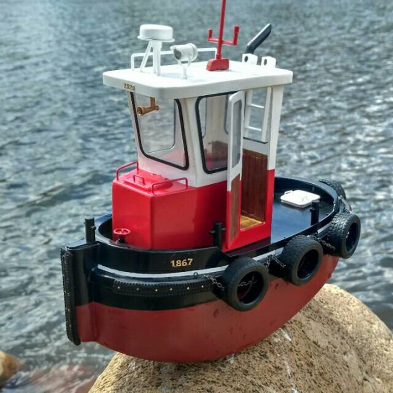 Mini Cute Small Boat Infrared Control RC Palm Boat Model Rescue Ship Electric RC Toys Wooden Whole Ship Suite Size 22*10.5cm