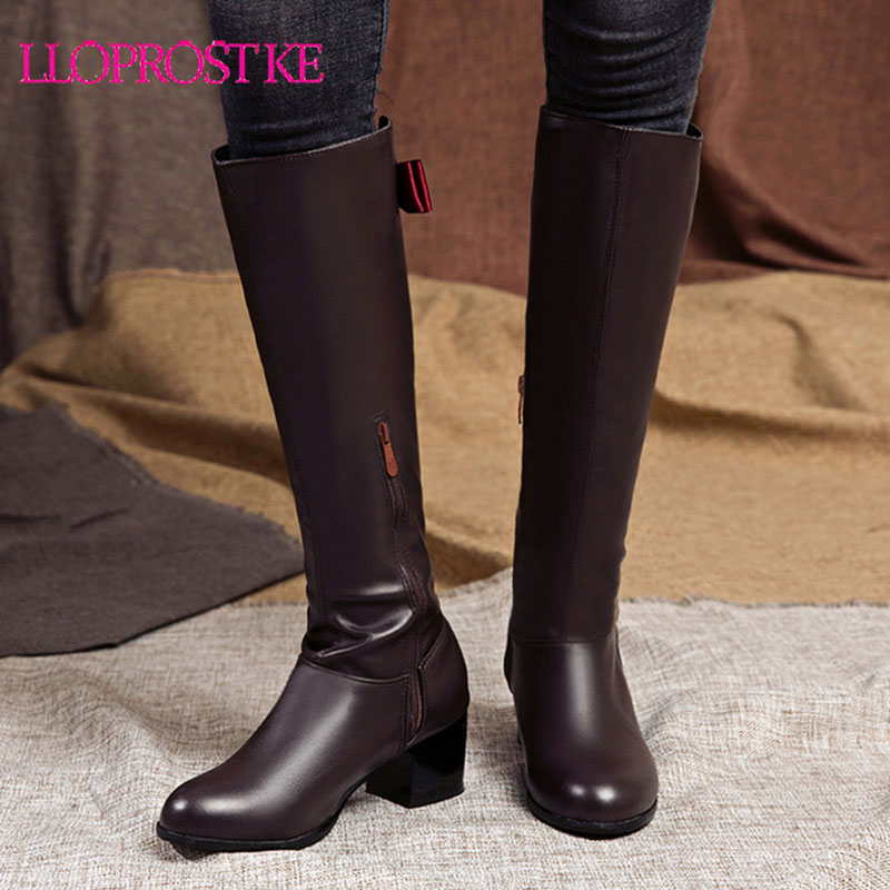 Lloprost ke Plus size 33-50 knee high boots women soft pu leather zip autumn winter boots High heels Retro bowtie ladies boots