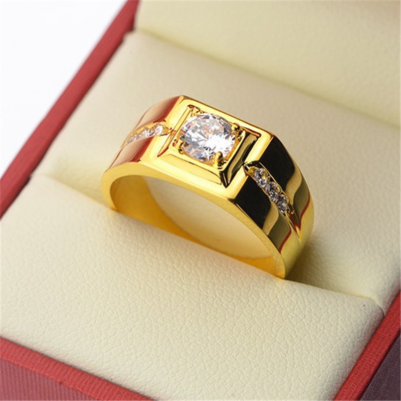 Solitaire male ring 24KT Gold Color 925 Sterling silver AAA Zircon cz Engagement Wedding title=