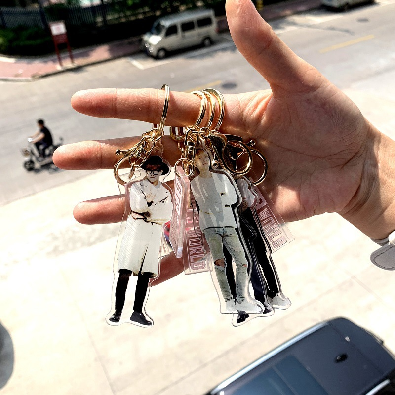 Image 2 - 7 pcs/lot KPOP Jin RM Jimin V suga jungkook jhope  world acrylic keychain keyring pendant toy giftAction & Toy Figures   -