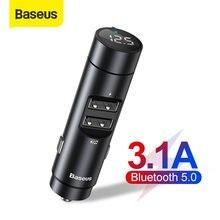 Baseus — Kit transmetteur audio FM Bluetooth 5.0 pour voiture, lecteur MP3, modulateur avec chargeur double port USB 3.1 A, pour automobile