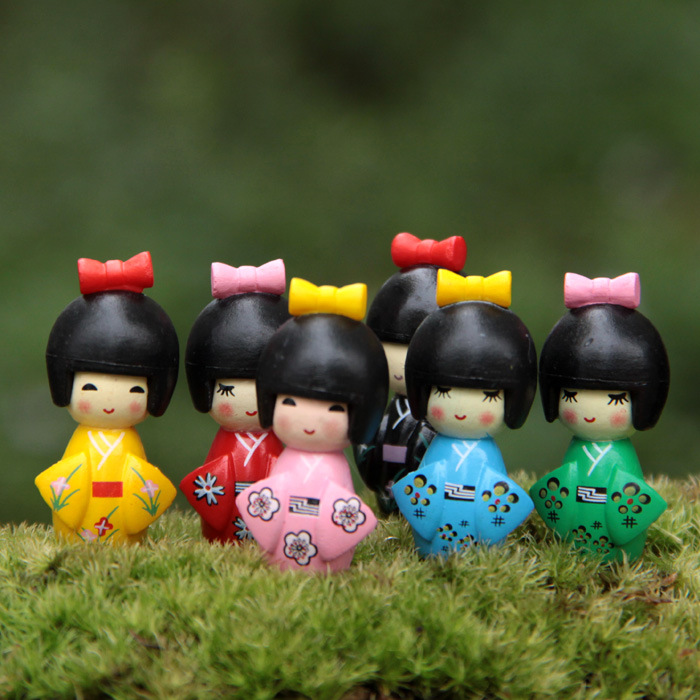 Japanese Kimono Little Girl Fairy Garden Miniatures DIY Ornament Decoration Crafts Figurines Micro Landscape Dropshipping