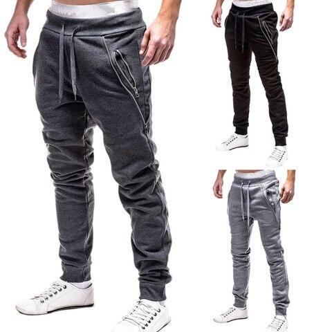 Compridas de Fitness Homens Joggers Calças Marca Moda Zíper Decorar Sweatpants Algodão Hip Hop Streetwear Preto Cinza 2020