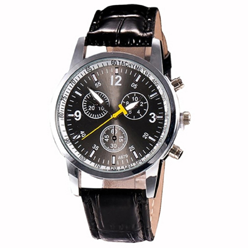 Hot Sales Men's Fashion Faux Leather Strap Round Dial Analog Casual Wrist Watch Xmas Gift  Mas-culino Fashion Men's Watch Large