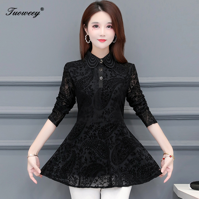 Hollow Out Lace Blouse Shirt Ladies 2020 Spring Summer Sexy stand collar Tops Casual Elegant black solid Blouses Plus Size 3
