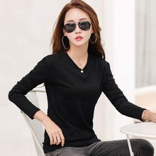 New Casual Tshirt Women Long Sleeve T Shirt Female 2019 Autumn Fashion Solid Color Button Ladies Tops Tee Femme O Neck T-Shirt