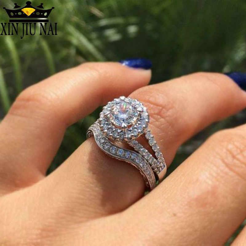 المرأة عالية الجودة 4 الشق الماس الجولة اثنين مجموعة الزفاف الفضة 925 مايكرو مجموعة مع الزركون مجوهرات الخطوبة زوجين الحب خواتم