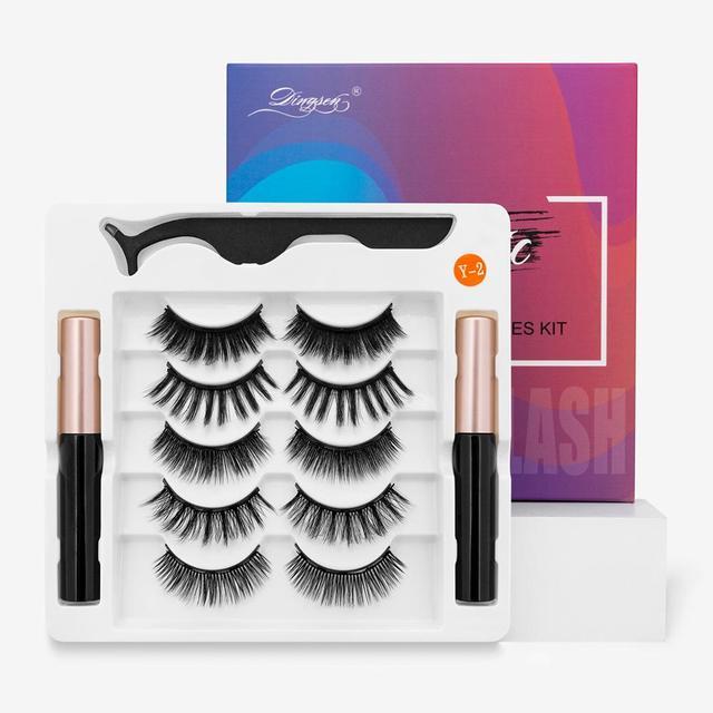 HELAN df50dan Magnetic Eyelashes Set Natural Long Magnetic False Eyelashes Magnetic Eyeliner Set Easy To Wear Lashes 3