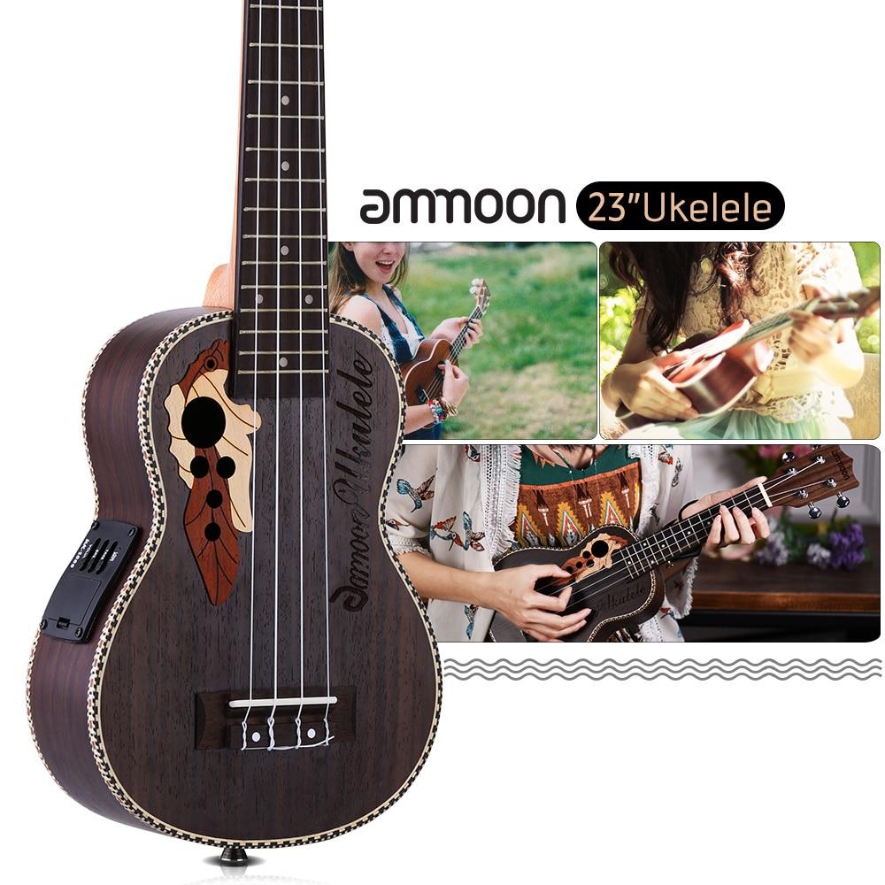 ammoon 23 Inch 15 Frets Ukulele Ukelele Uke Rosewood Body 4 Strings Hawaiian Guitar Musical Instruments