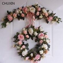 الورد الفاوانيا الزهور الاصطناعية إكليل الأوروبي Lintel جدار ديكور زهرة الباب إكليل لحفل الزفاف ديكور المنزل عيد الميلاد