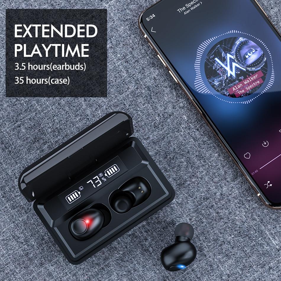 ÍClearance SaleROCK Wireless Bluetooth Earphones Power-Bank Sports 8D 2000mah Led-Display Stereo ê