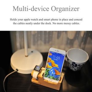 Image 5 - Multi Estación de carga USB con acoplamiento de madera de bambú, 3 puertos, soporte de montaje de cargador de teléfono móvil para Apple Watch iPhone X/8/8Plus/7Plus