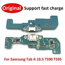 Carte de connecteur de Port de chargement USB avec câble flexible de Microphone, pour Samsung Galaxy Tab A SM T590 T595 T597