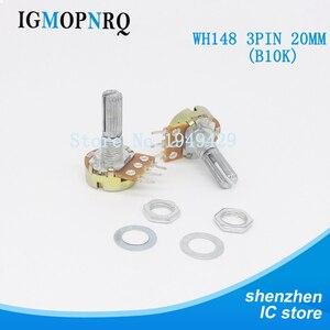 5 Stks/partij B10K 10K Ohm WH148 3Pin Single Rotary Potentiometer Potten Shaft 20Mm Met Noten En Shim