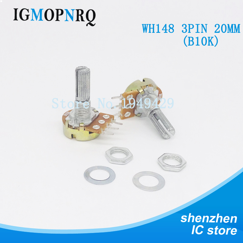 5PCS/LOT B10K 10K OHM WH148 3Pin Single Rotary Potentiometer Pots Shaft 20MM With Nuts And Shim