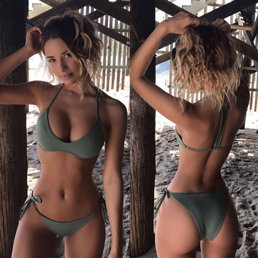 Sexy Bikinis Set Army Green Womens Bikini Padded Push-Up 2020 Bra Bandage Swimsuit Beachwear Swimwear Bathing