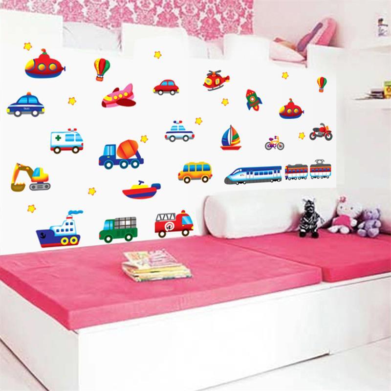 Dessin animé voiture fusée bateau avion stickers muraux pour enfants chambre stickers muraux pour enfants chambre d'enfant sticker Mural sticker Mural BRICOLAGE Murale