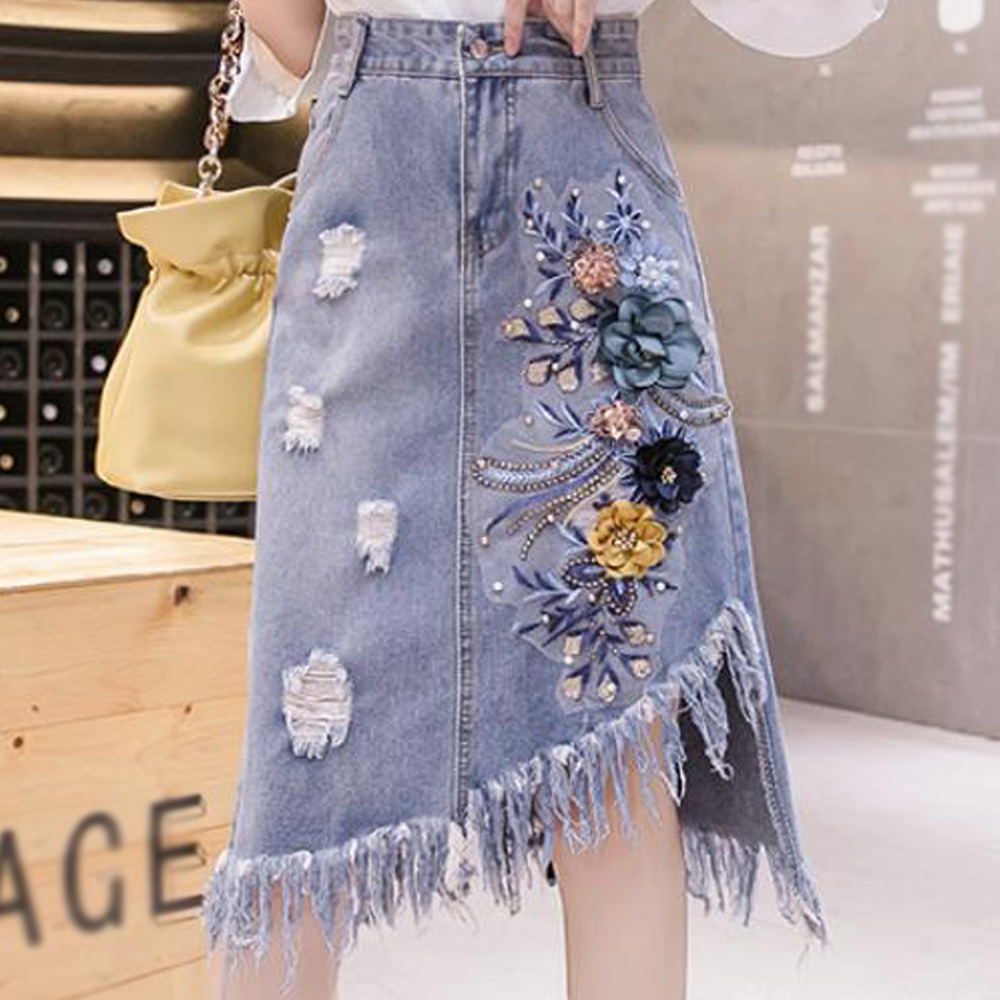 Women Vintage Flower Appliques Asymmetrical Hem Tassel Denim Skirt Faldas Mujer Ladies High Waist Chic Fringe Midi Jeans Skirt