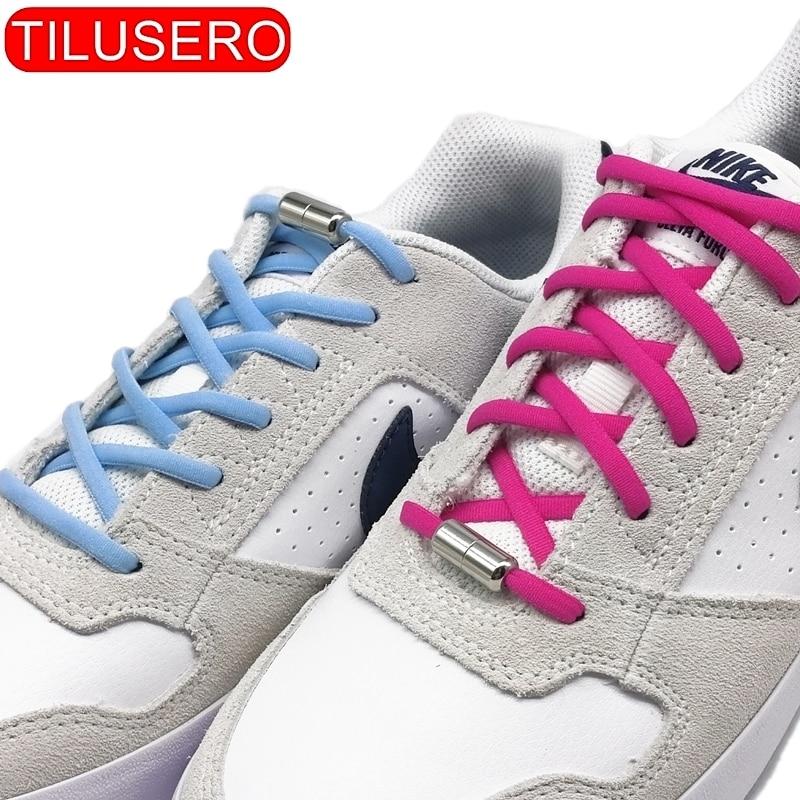 New 1pair Elastic No Tie Shoelaces Locking Round Shoe Laces Kids Adult Quick Shoelaces 100cm