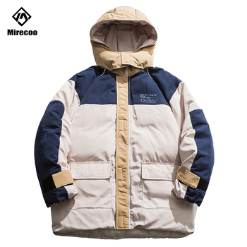 Mens Winter Down Jacket Coat Patchwork Block Hooded Parkas Men Thick Warm Slim Fit Male High Street Hip Hop Overcoat Clothing