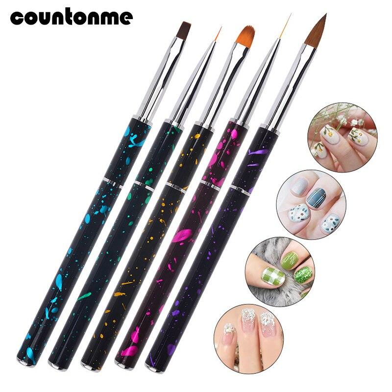 5 Style Metal Nail Brush Thin Liner Painting Pen UV Gel Extension Builder Brush Gel Polish Drawing Dotting Manicure Brush Set