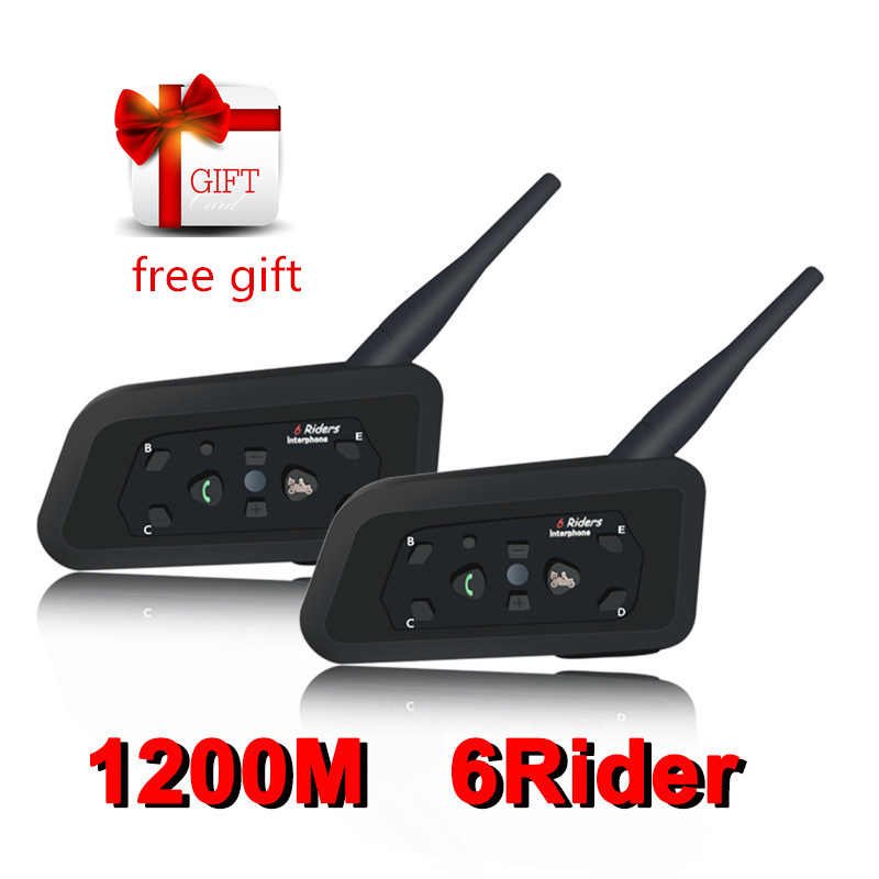 2PCS Bluetooth Del Casco del Motociclo Cuffie Intercom per 6 Riders BT Senza Fili Intercomunicador Moto Interfono Bluetooth Auricolare