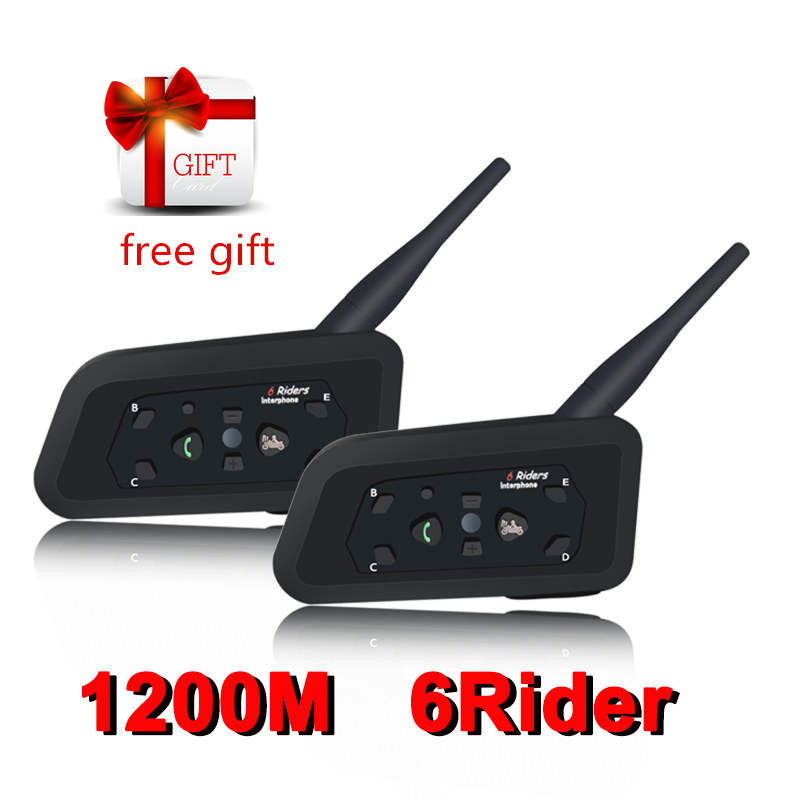 2PCS Motorrad <font><b>Bluetooth</b></font> Helm <font><b>Headsets</b></font> Intercom für 6 Fahrer BT Wireless Intercomunicador Sprech MP3 <font><b>Bluetooth</b></font> <font><b>Headset</b></font> image