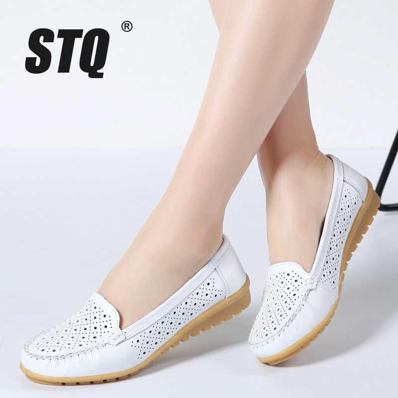 STQ 2020 봄 여성 플랫 신발 여성 정품 가죽 신발 여성 컷 아웃로 퍼 슬립 발레 플랫 발레리나 플랫 169