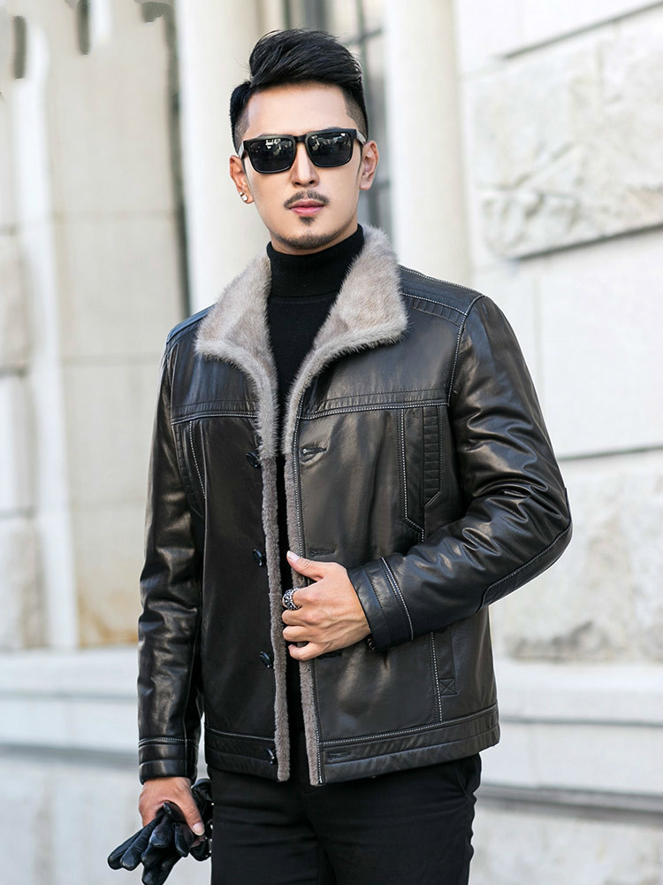 Winter Genuine Leather Jacket Men 100% Goatskin Leather Coat Wool Fur Lining Plus Size Mink Collar JM-31-E739 KJ3844
